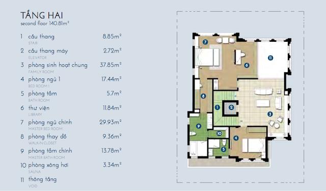Thiết kế chi tiết tầng 2 biệt thự Bạch Kim