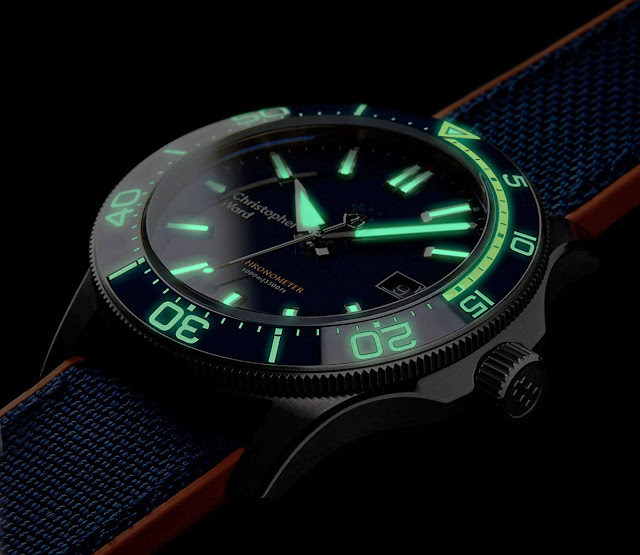 Lume shot of the Christopher Ward C60 Trident Elite 1000