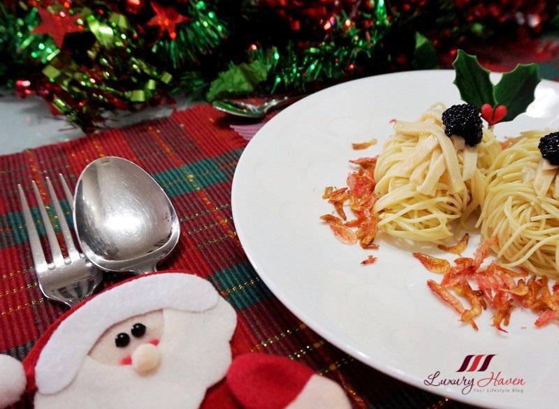 christmas cold capellini pasta truffle oil abalone caviar