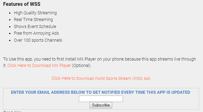 Download World Sports Stream (WSS) Latest Version - v2 1