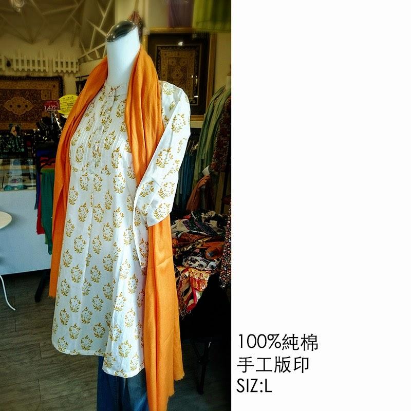 印度手工-版印衣服★ Block Printing名品--純棉.長袖.長版洋裝
