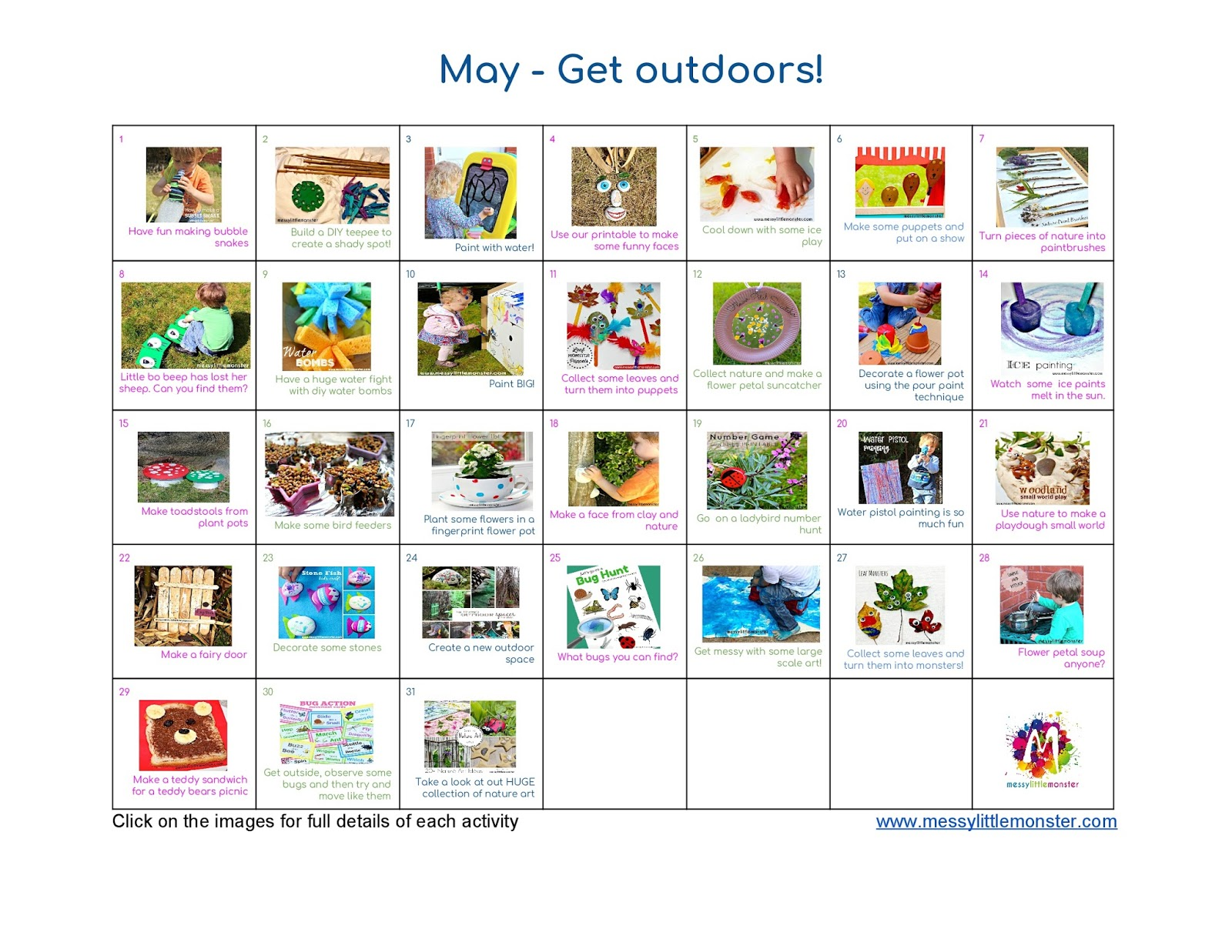 May kids activity calendar.  outdoor themed summer art craft and activity ideas for toddlers and preschoolers
