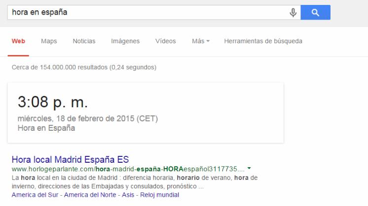 Truco de Google: Hora