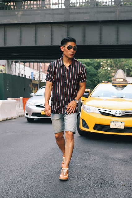 Leo Chan wearing Nautical Stripes, Burberry Aviator Sunglasses, A21 Necklace for a Poolside Look | Asian Male Model