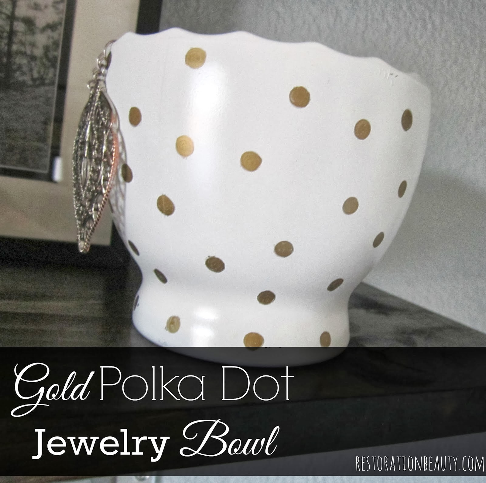 polka dot jewelry bowl