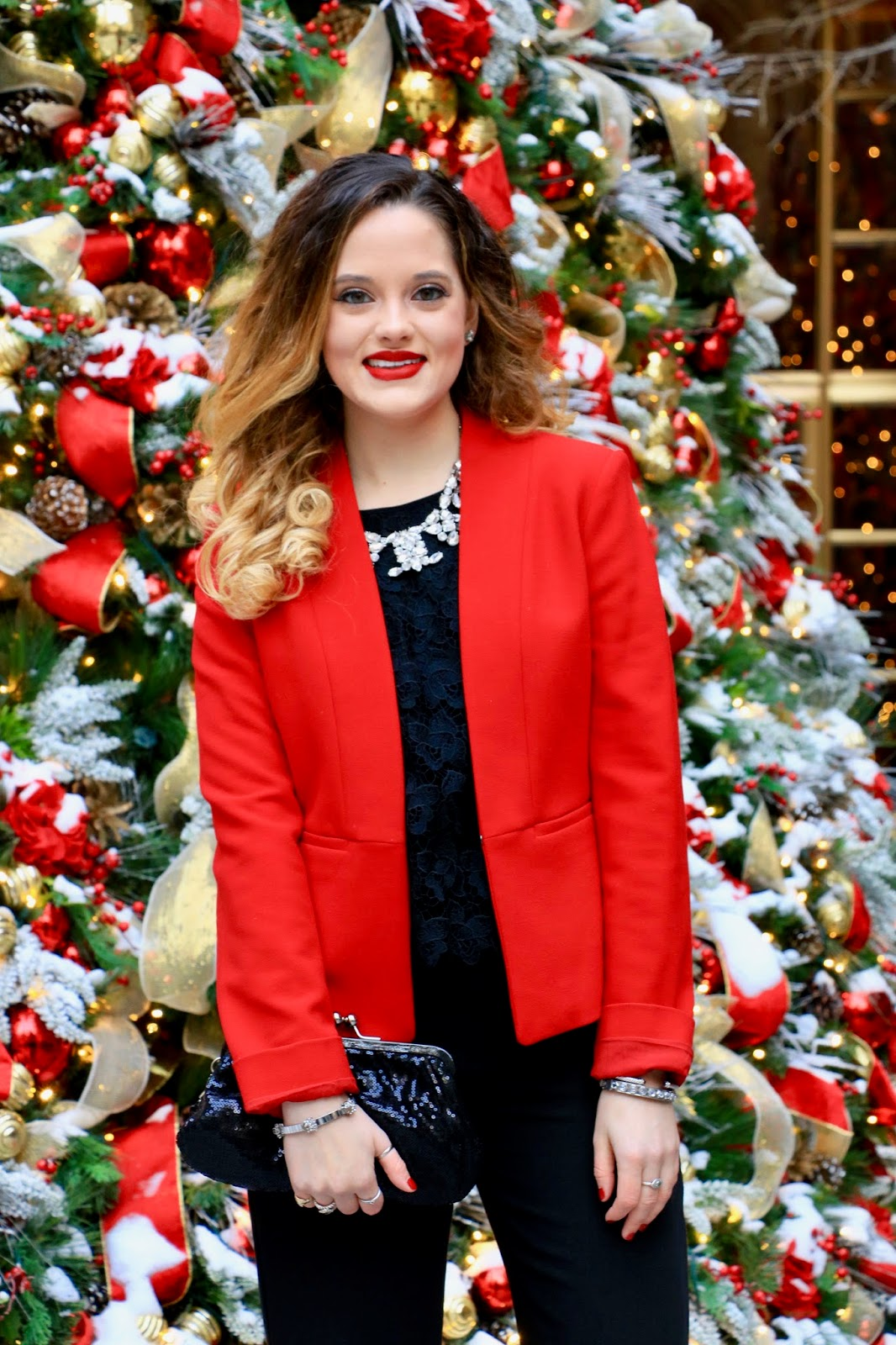 Nyc fashion blogger Kathleen Harper showing how to wear a red blazer