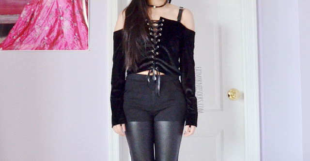 Romwe fashion review: ribboned lace-up faux leather strap off-shoulder black velvet crop top