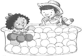 Brincadeiras crianças-piscina bolinhas