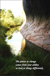 Image of a curved red rock face and it's reflection in water running at its base with the text: The power of change comes from the ability to look at things differently