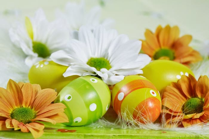 Daffodils and green Easter eggs