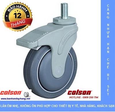 Bánh xe đẩy trục ren càng nhựa STO dùng cho xe đẩy Bệnh Viện www.banhxepu.net