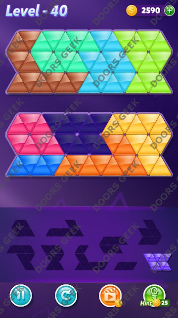 Block! Triangle Puzzle 9 Mania Level 40 Solution, Cheats, Walkthrough for Android, iPhone, iPad and iPod