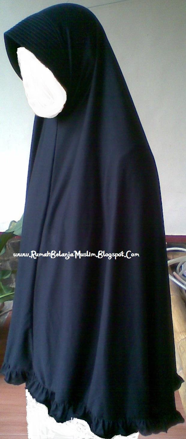 Rumah Belanja Muslim Jilbab Panjang Kaos Rayon Hitam