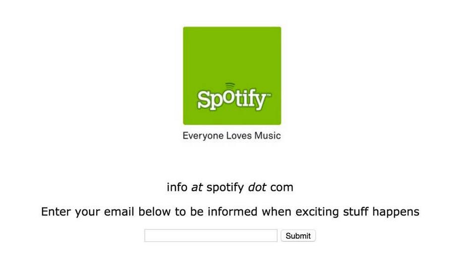 Historia de Spotify, primera landing page