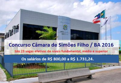 inscrição Concurso Câmara de Simões Filho / BA 2016.