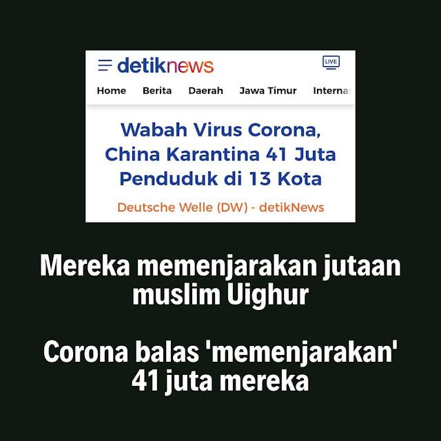 Corona Adzab untuk China