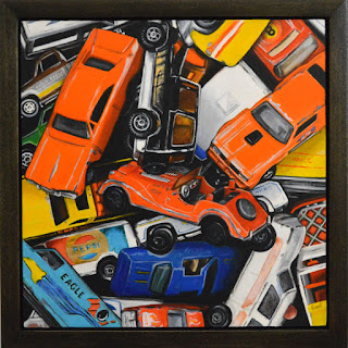 photorealist painting of vintage toy cars in a custom handmade frame