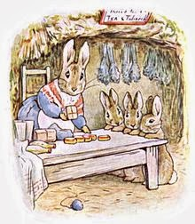Mrs. Rabbit Selling Herbs, Rosemary Tea and Rabbit Tobacco
