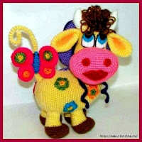 Colorida vaca a crochet