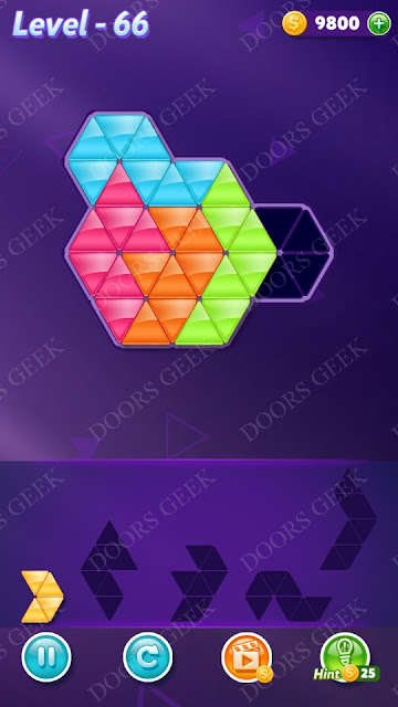 Block! Triangle Puzzle 5 Mania Level 66 Solution, Cheats, Walkthrough for Android, iPhone, iPad and iPod