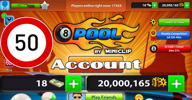 Competition 50 account 20 million coins 8 ball pool