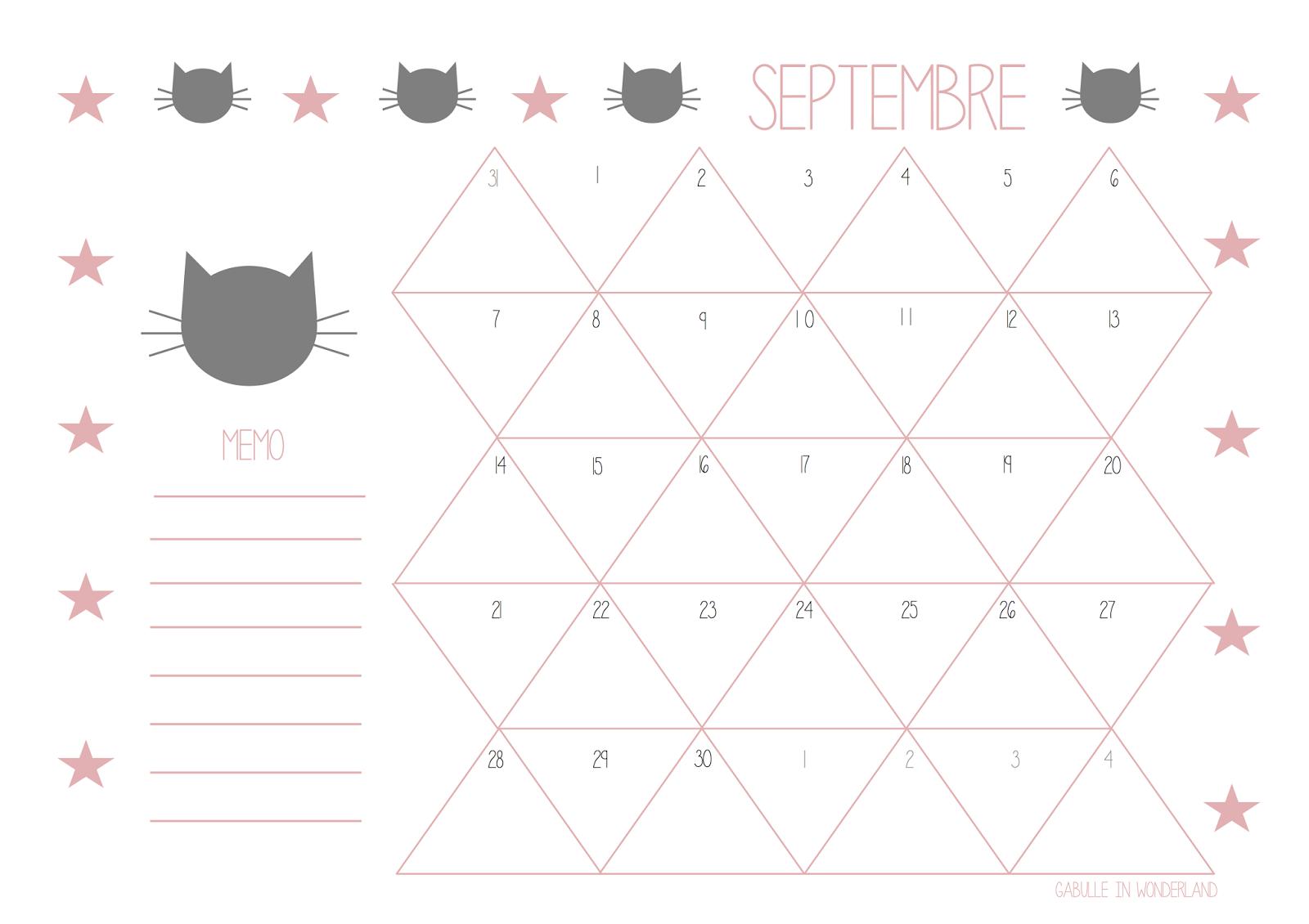 Calendrier Mois De Septembre.Gabulle In Wonderland Calendrier Du Mois De Septembre A