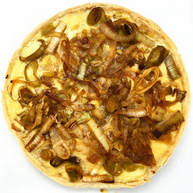Overhead of Onion and Leek Tart