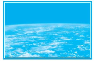 Bumi di angkasa. Ketika melihat bumi dari angkasa untuk pertama kalinya, para astronot terpesona melihat keindahan planet biru tersebut. Pada gambar atas, bumi tampak dari bulan, seakan-akan baru terbit di ufuk timur.