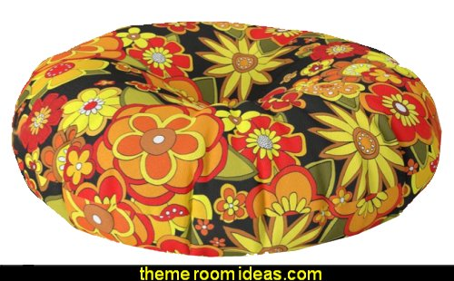Super groovy flowers Black base orange Floor Pillow   Hippy Bedrooms - 60s style theme decorating - 70s theme decorating - groovy 70's Theme Decor - Flower Power Bedrooms - 70s theme bedroom decorating - Psychedelic Tie Dye Hippie Hippy style flower power era - peace sign decor - hippie decor - Retro 60s Groovy 70s Psychedelic hippie Costumes - bohemian bedrooms -