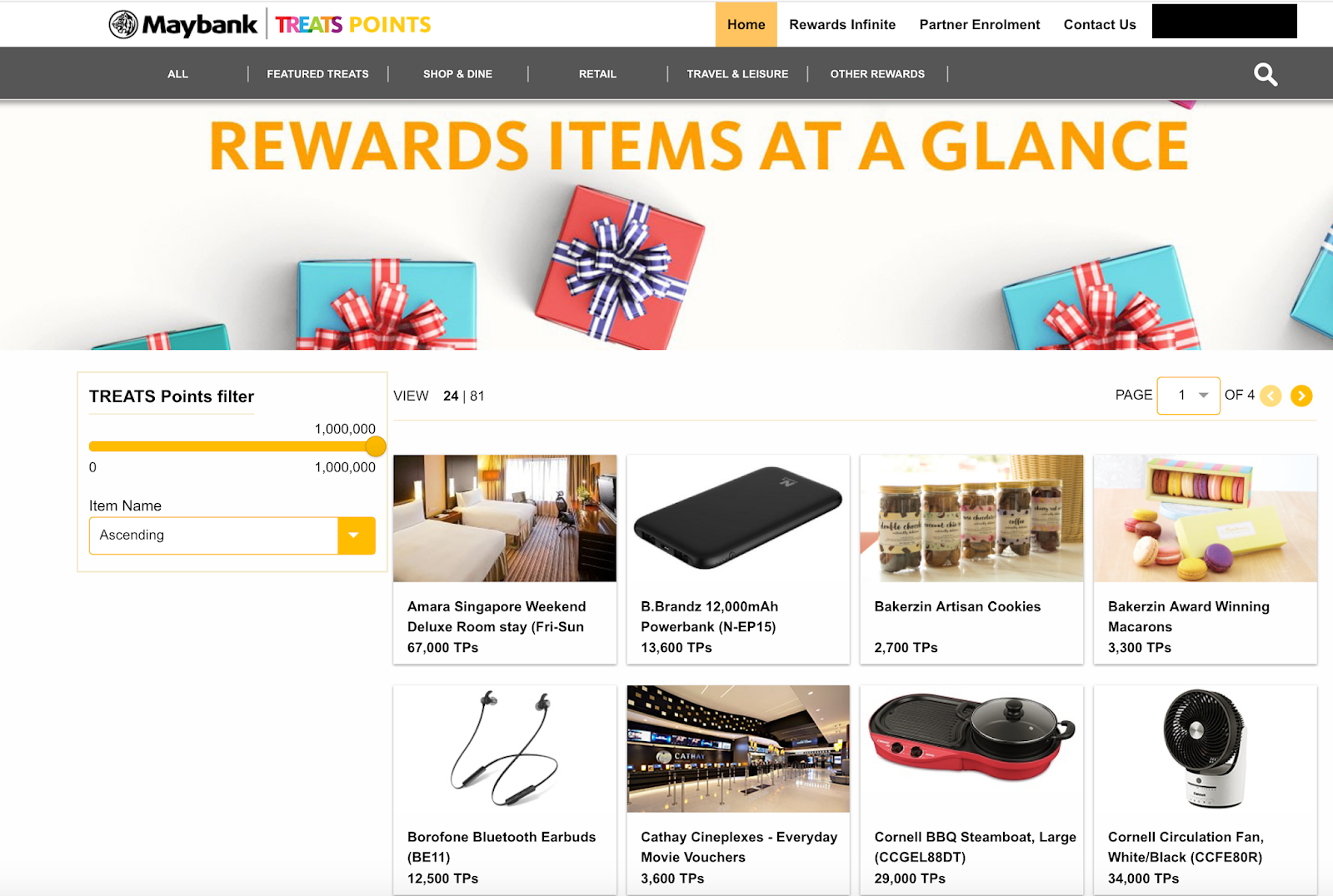 Maybank Treats Points Rewards Programme redemption options in