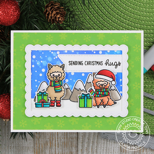 Sunny Studio Stamps: Alpaca Holiday Fancy Frames Rectangles Frosty Flurries Snowy Scene Christmas Card by Juliana Michaels