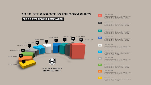 Multi Step 3D Circular Process Diagram Infographic Free PowerPoint Template Slide 1