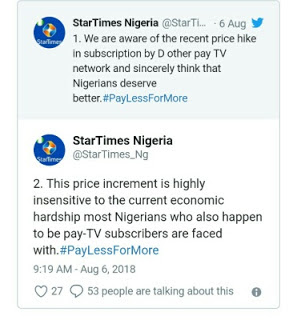 Startimes Reduces Classic Bouquet Subscription Price