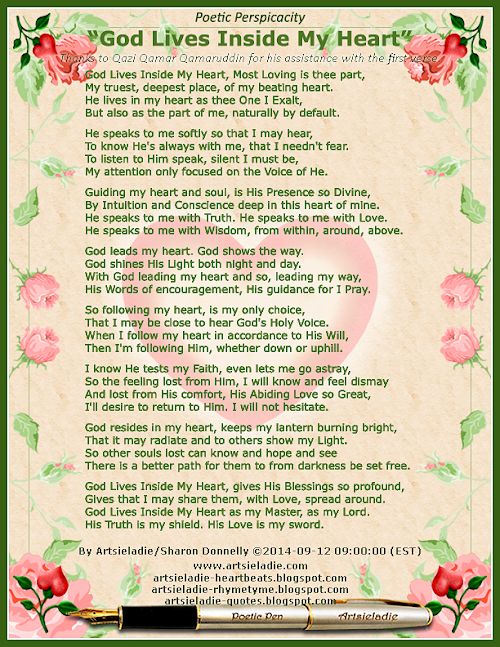 God Lives Inside My Heart by Artsieladie/Sharon Donnelly