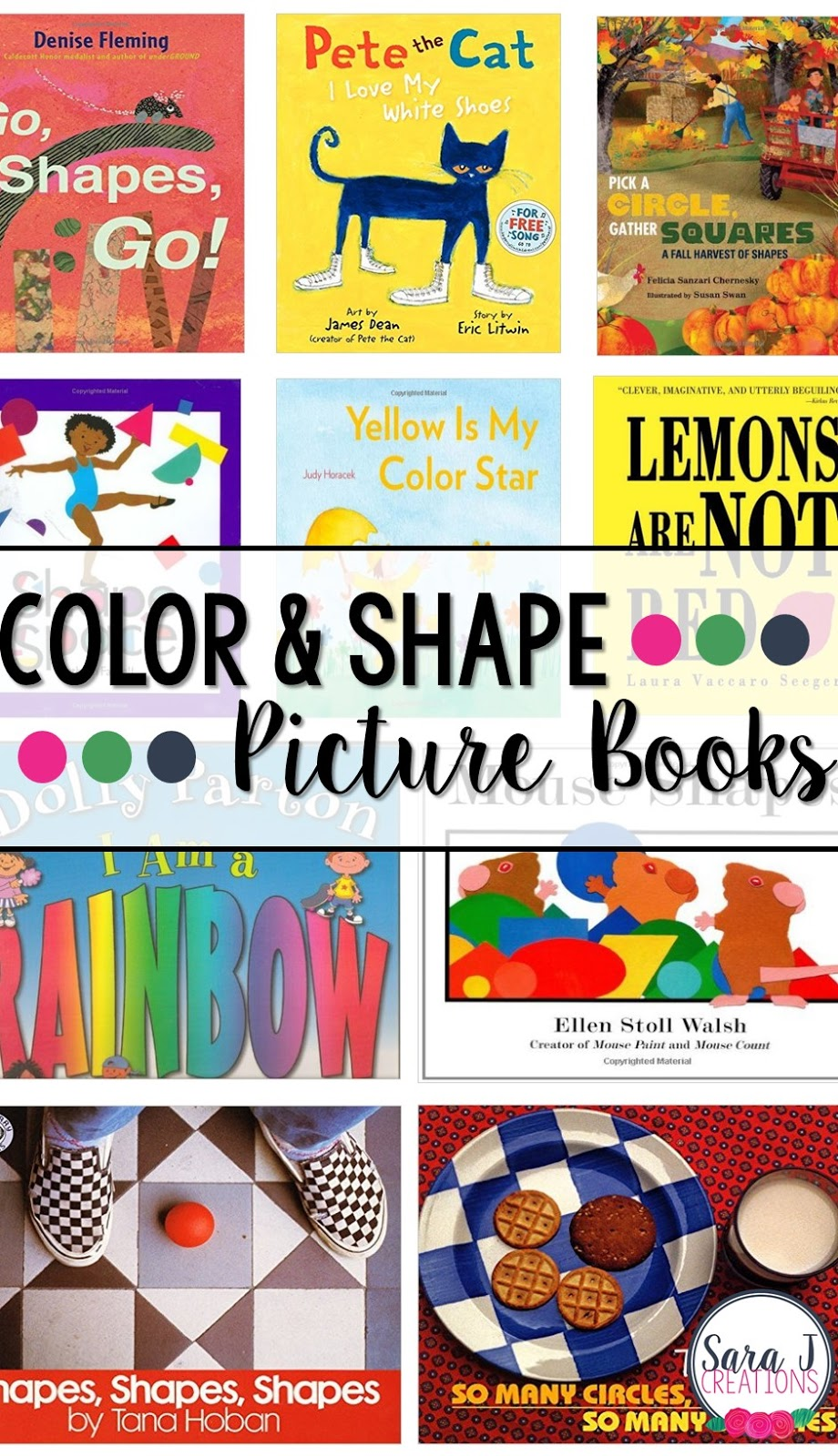 Quick reference to some great color and shape picture books for kids!