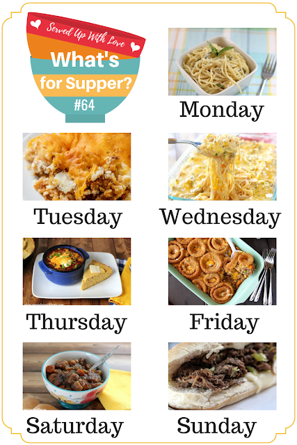 Creamy Cheesy Chicken Spaghetti, Taco Tater Tot Casserole, Cheesy Beef Bake with Onion Rings, Crock Pot Beef Stew, and more at What's for Supper Sunday meal plan.