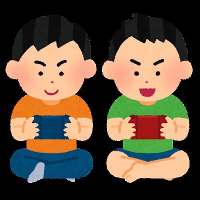 据置型ゲーム機で遊ぶ子供達のイラスト(男の子・スマホ型)