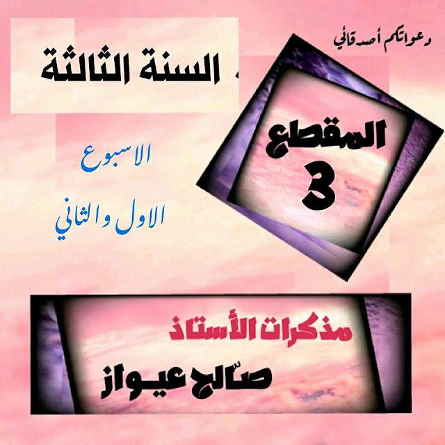 مذكرات المقطع الثالث الاسبوع الاول و الثاني مادة اللغة العربية السنة الثالثة ابتدائي الجيل الثاني