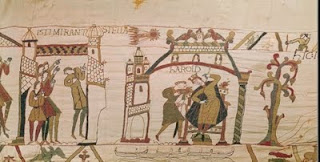 The Bayeux Tapestry - Halley's comet appears in the skies over England in April 1066