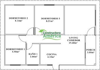 plano casas prefabricadas america 54 metros cuadrados