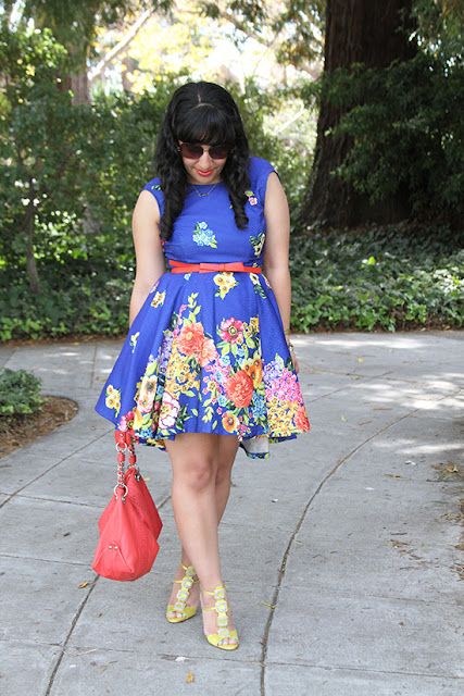 Blue Floral Dress Spring Blogger SF Outfit Inspiration
