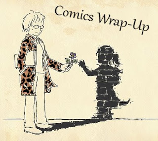 comics wrap-up title image with manga-style woman handing a flower to her shadow