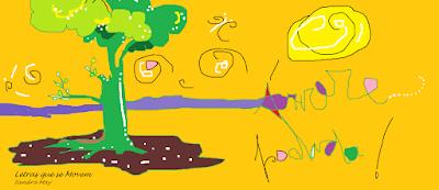 paisagem em amarelo. sol, paint