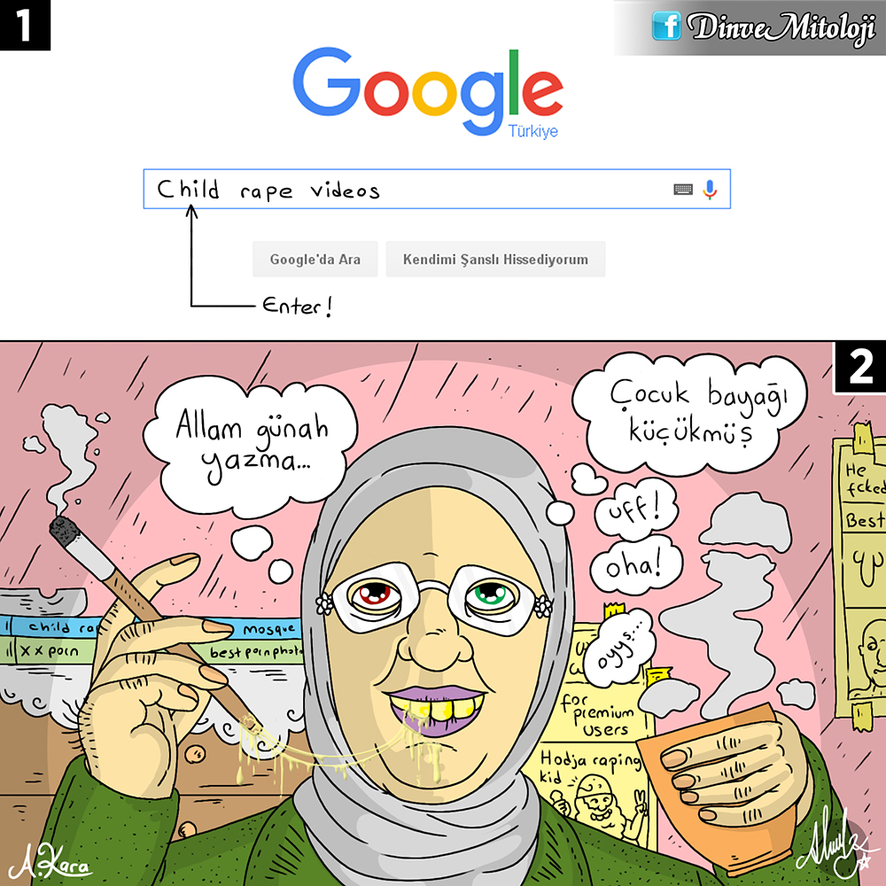 karikatür, yobaz, aile bakanı bir kereden birşey olmaz, ensar vakfı, sapık ensar, tecavüzcü ensar, dini karikatür, tecavüzcüyü aklamak, din ve mitoloji,