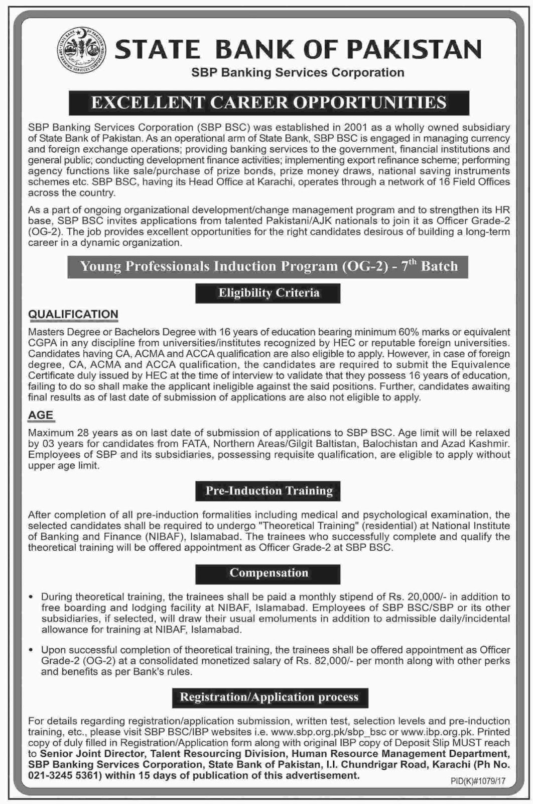 Young Professionals jobs in State Bank Of Pakistan Karachi Oct 2017