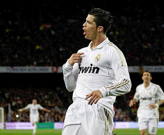 Cristiano Ronaldo celebrating the goal at Camp Nou