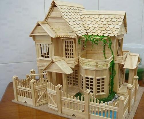 20 Contoh Kerajinan Miniatur Rumah Dari Stik Es Krim Hal Lima