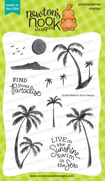 Paradise Palms 4 x 6 Watercolored Palm Tree stamp set by Newton's Nook Designs #newtonsnook