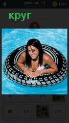 Девочка на воде в круге плавает в водоеме