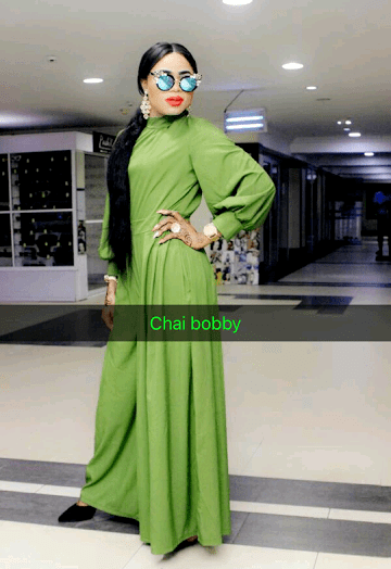 Bobrisky steps out in lovely long green jumpsuit...(photos)